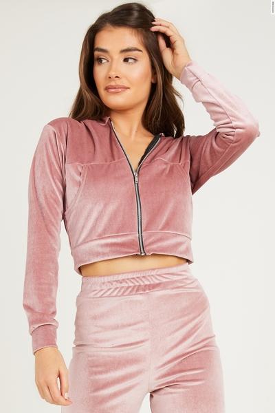 Pink Velvet Zip Front Hoodie